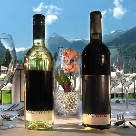 wine bottle terrace restaurant kaprun
