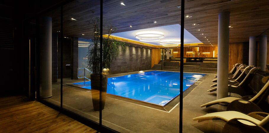 indoor pool at night