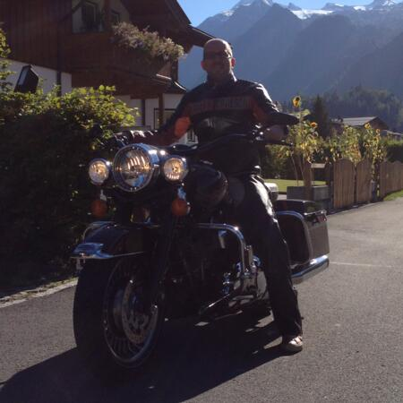 host stefan unterkofler on a motorcycle