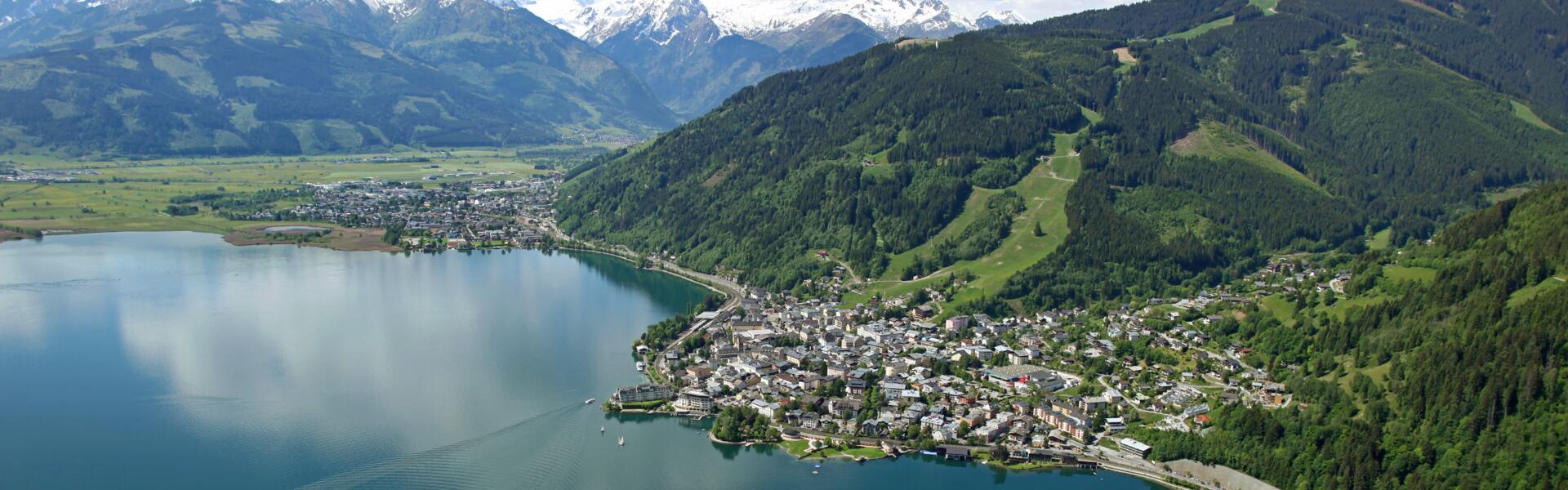 aerial shot zell am see