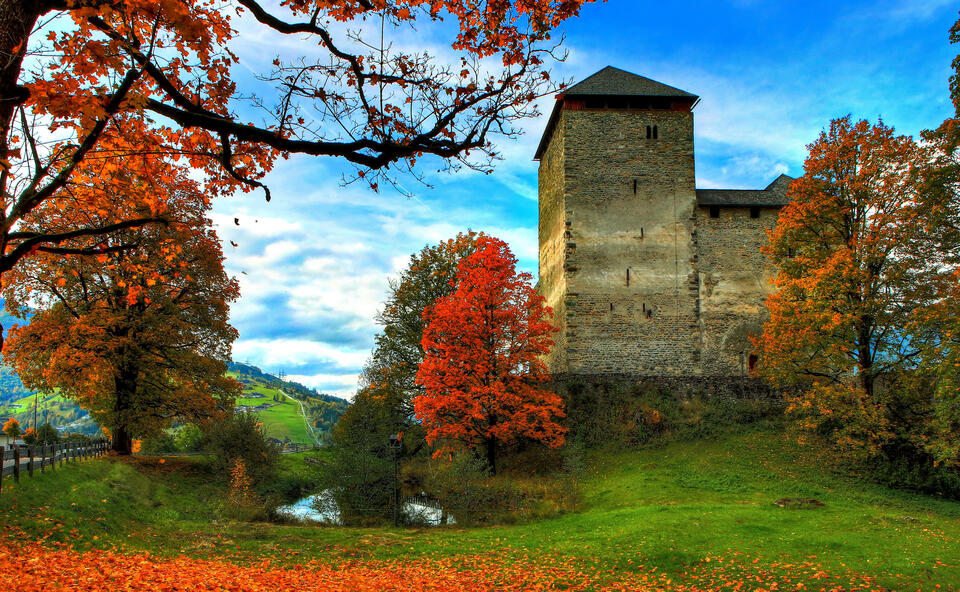 kaprun castle in autumn